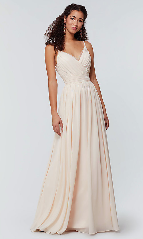 Image of long chiffon bridesmaid dress with beaded neckline. Style: KL-200128 Detail Image 4