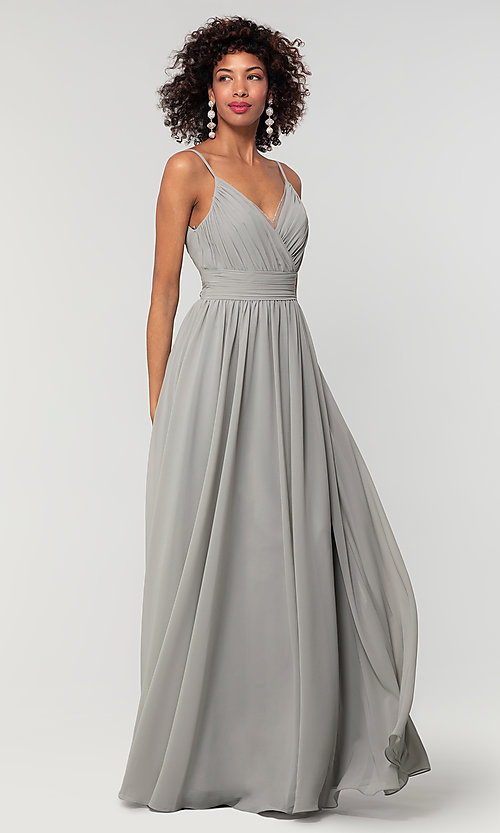Image of long chiffon bridesmaid dress with beaded neckline. Style: KL-200128 Detail Image 8