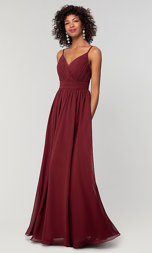 Image of long chiffon bridesmaid dress with beaded neckline. Style: KL-200128 Detail Image 7