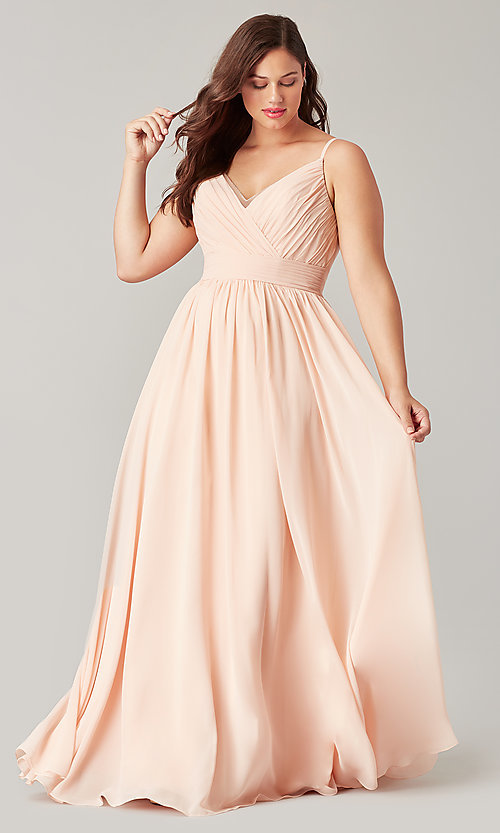 Image of long chiffon bridesmaid dress with beaded neckline. Style: KL-200128 Detail Image 5