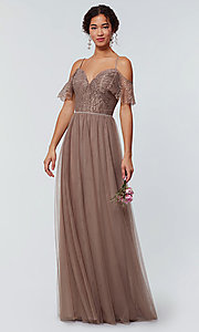 Image of tulle bridesmaid dress by Kleinfeld with lace bodice. Style: KL-200121 Detail Image 3
