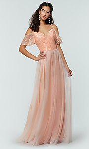 Image of tulle bridesmaid dress by Kleinfeld with lace bodice. Style: KL-200121 Detail Image 7
