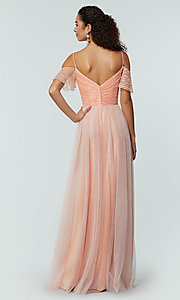 Image of tulle bridesmaid dress by Kleinfeld with lace bodice. Style: KL-200121 Back Image