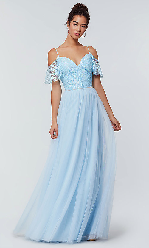 Image of tulle bridesmaid dress by Kleinfeld with lace bodice. Style: KL-200121 Detail Image 5