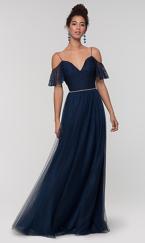 Image of tulle bridesmaid dress by Kleinfeld with lace bodice. Style: KL-200121 Front Image