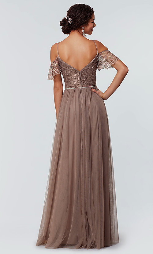 Image of tulle bridesmaid dress by Kleinfeld with lace bodice. Style: KL-200121 Detail Image 4