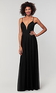 Image of open-back long bridesmaid dress with deep v-neck. Style: KL-200165 Detail Image 7