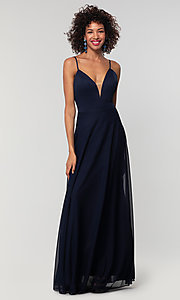 Image of open-back long bridesmaid dress with deep v-neck. Style: KL-200165 Detail Image 3