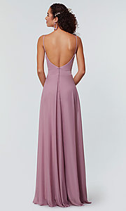 Image of open-back long bridesmaid dress with deep v-neck. Style: KL-200165 Detail Image 2