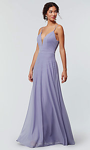 Image of open-back long bridesmaid dress with deep v-neck. Style: KL-200165 Detail Image 8