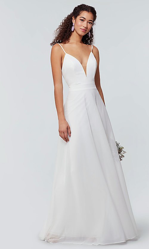 Image of open-back long bridesmaid dress with deep v-neck. Style: KL-200165 Front Image
