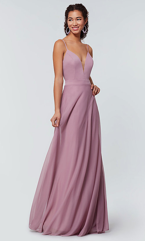 Image of open-back long bridesmaid dress with deep v-neck. Style: KL-200165 Detail Image 1