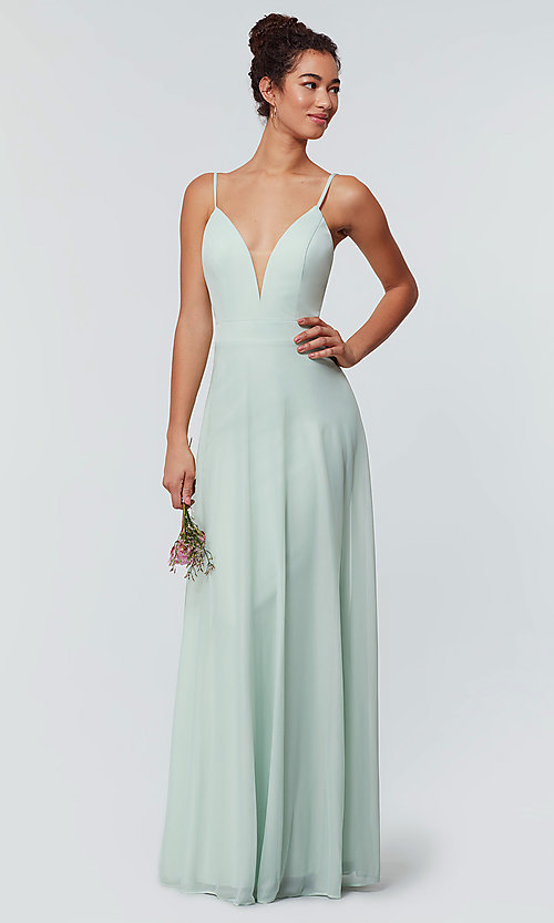 Image of open-back long bridesmaid dress with deep v-neck. Style: KL-200165 Detail Image 4