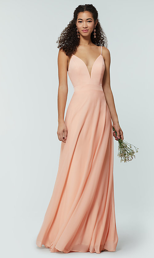 Image of open-back long bridesmaid dress with deep v-neck. Style: KL-200165 Detail Image 5