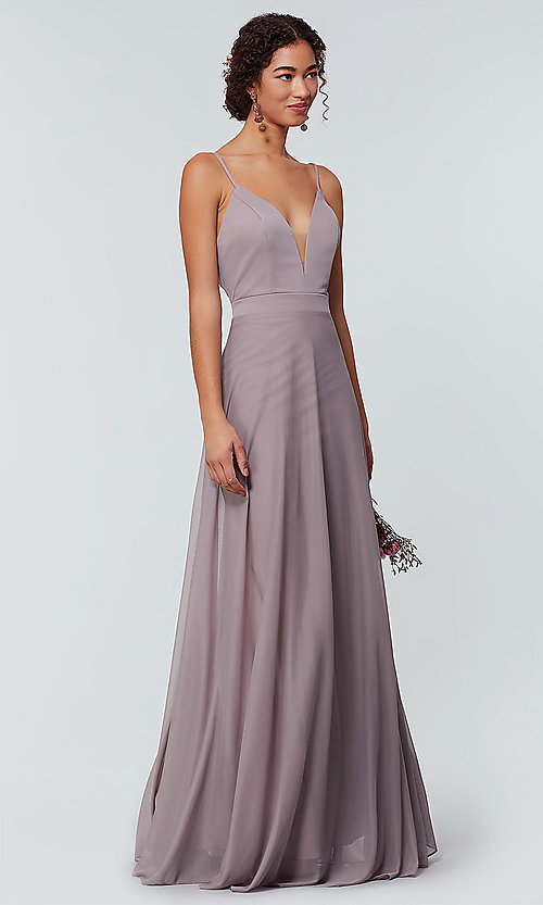 Image of open-back long bridesmaid dress with deep v-neck. Style: KL-200165 Detail Image 6