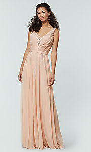 Image of long chiffon bridesmaid dress with lace v-neck.  Style: KL-200163 Detail Image 8