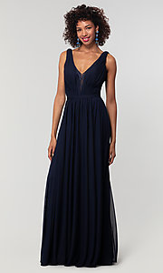 Image of long chiffon bridesmaid dress with lace v-neck.  Style: KL-200163 Detail Image 4