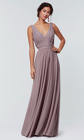 Long Chiffon V-Neck Kleinfeld Bridesmaid Dress