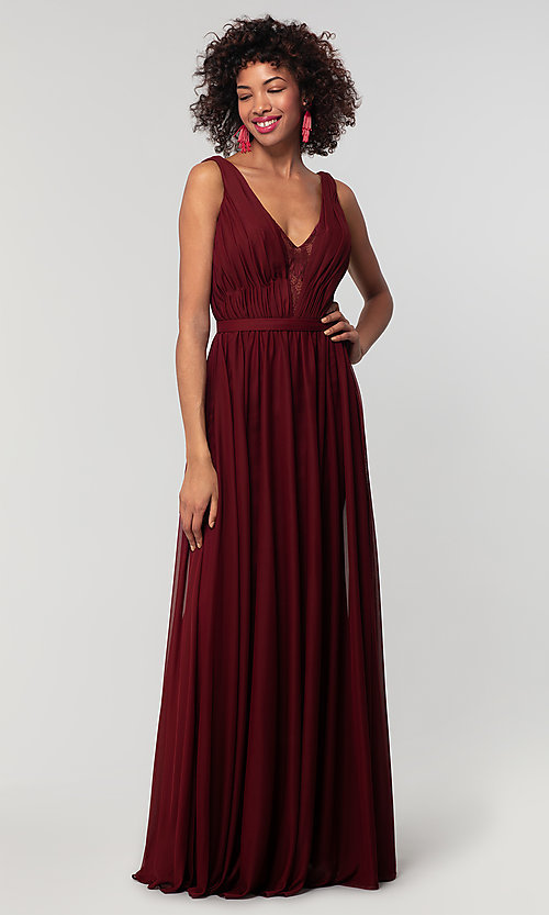 Image of long chiffon bridesmaid dress with lace v-neck.  Style: KL-200163 Detail Image 7