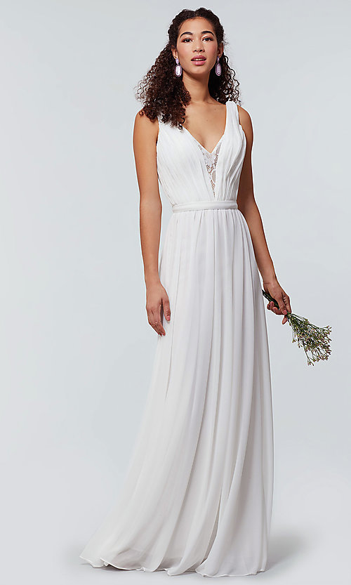 Image of long chiffon bridesmaid dress with lace v-neck.  Style: KL-200163 Detail Image 5