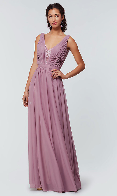 Image of long chiffon bridesmaid dress with lace v-neck.  Style: KL-200163 Detail Image 1