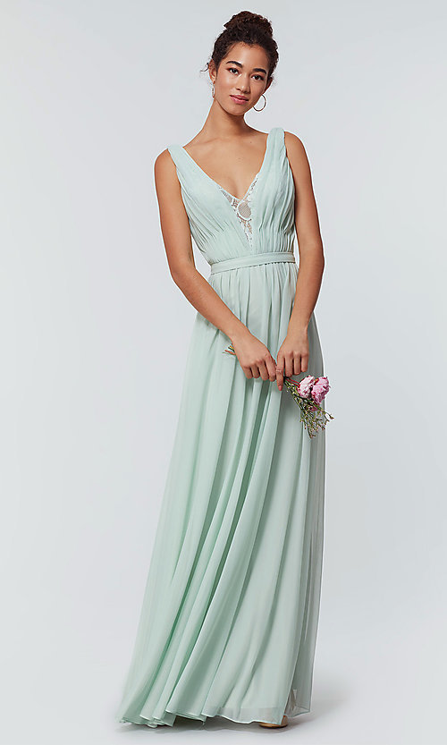 Image of long chiffon bridesmaid dress with lace v-neck.  Style: KL-200163 Detail Image 6