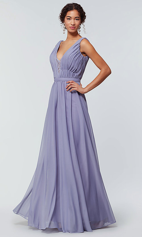 Image of long chiffon bridesmaid dress with lace v-neck.  Style: KL-200163 Detail Image 3