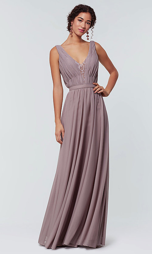 Image of long chiffon bridesmaid dress with lace v-neck.  Style: KL-200163 Front Image