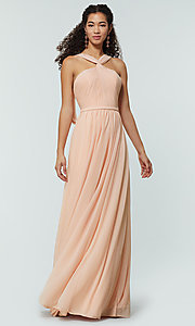 Image of stretch-chiffon Kleinfeld bridesmaid dress. Style: KL-200162 Detail Image 7