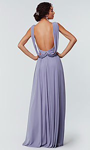 Image of stretch-chiffon Kleinfeld bridesmaid dress. Style: KL-200162 Back Image