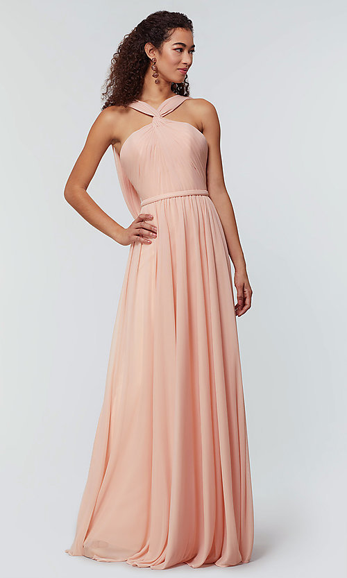 Image of stretch-chiffon Kleinfeld bridesmaid dress. Style: KL-200162 Detail Image 3