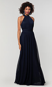 Image of high-neck chiffon bridesmaid dress by Kleinfeld. Style: KL-200164 Front Image