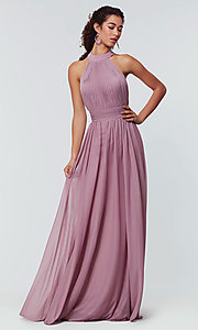 Image of high-neck chiffon bridesmaid dress by Kleinfeld. Style: KL-200164 Detail Image 4