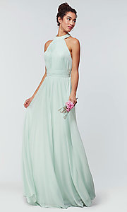 Image of high-neck chiffon bridesmaid dress by Kleinfeld. Style: KL-200164 Detail Image 7