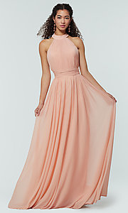 Image of high-neck chiffon bridesmaid dress by Kleinfeld. Style: KL-200164 Detail Image 5