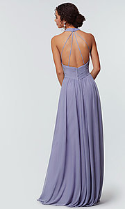 Image of high-neck chiffon bridesmaid dress by Kleinfeld. Style: KL-200164 Detail Image 2