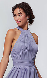 Image of high-neck chiffon bridesmaid dress by Kleinfeld. Style: KL-200164 Detail Image 3