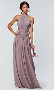 Image of high-neck chiffon bridesmaid dress by Kleinfeld. Style: KL-200164 Detail Image 6