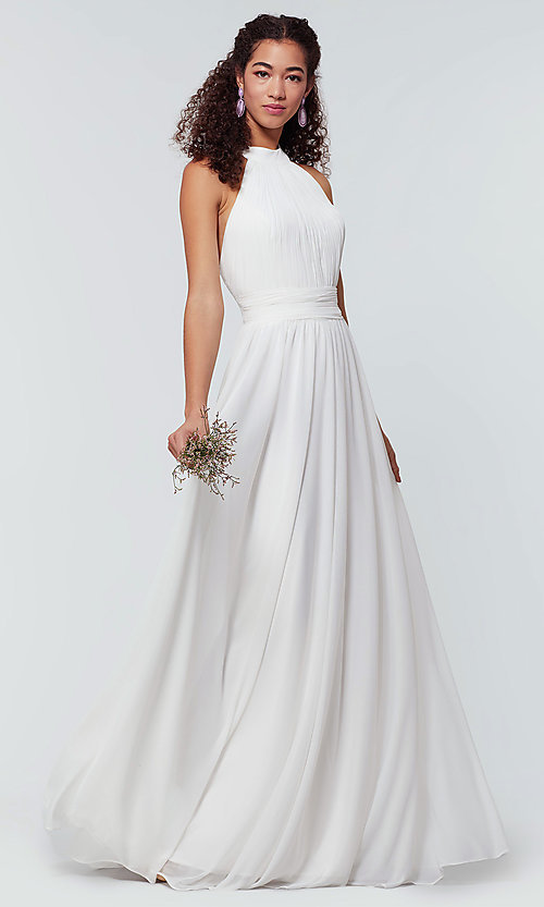 Image of high-neck chiffon bridesmaid dress by Kleinfeld. Style: KL-200164 Detail Image 8