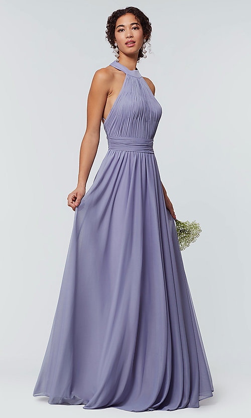 Image of high-neck chiffon bridesmaid dress by Kleinfeld. Style: KL-200164 Detail Image 1