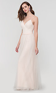 Image of tulle and chiffon long bridesmaid dress. Style: KL-200166 Front Image