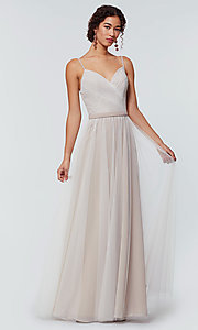 Image of tulle and chiffon long bridesmaid dress. Style: KL-200166 Detail Image 1