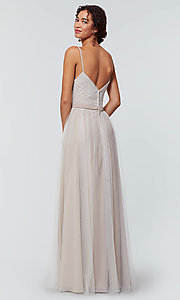 Image of tulle and chiffon long bridesmaid dress. Style: KL-200166 Detail Image 2