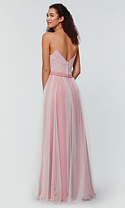Image of tulle and chiffon long bridesmaid dress. Style: KL-200166 Detail Image 6