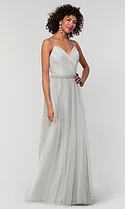 Image of tulle and chiffon long bridesmaid dress. Style: KL-200166 Detail Image 7