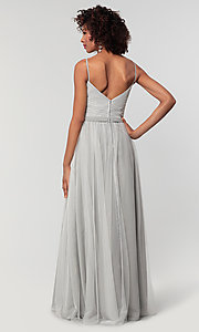 Image of tulle and chiffon long bridesmaid dress. Style: KL-200166 Detail Image 8