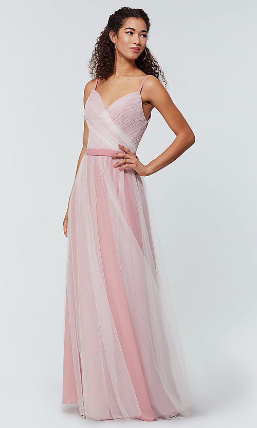 Image of tulle and chiffon long bridesmaid dress. Style: KL-200166 Detail Image 5
