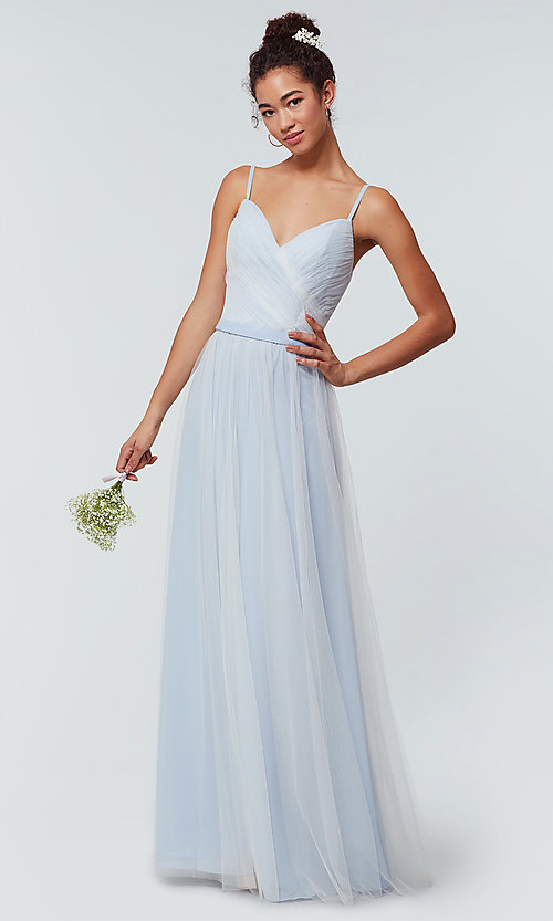 Image of tulle and chiffon long bridesmaid dress. Style: KL-200166 Detail Image 3