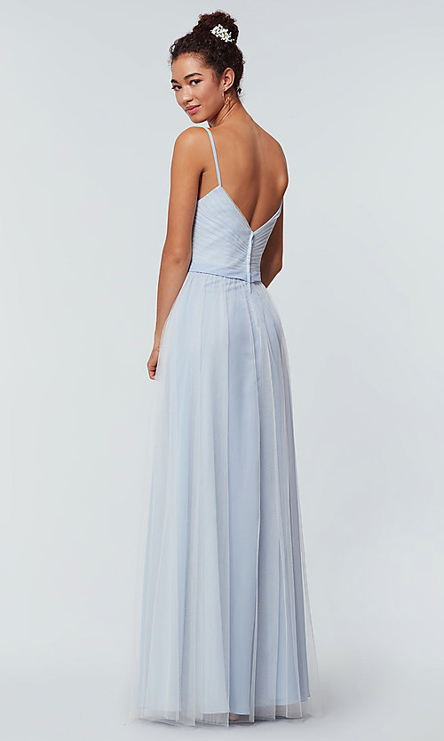 Image of tulle and chiffon long bridesmaid dress. Style: KL-200166 Detail Image 4