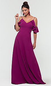 Image of cold-shoulder long bridesmaid dress by Kleinfeld. Style: KL-200027-v Front Image
